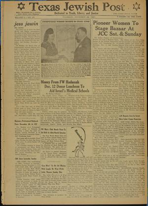 Primary view of object titled 'Texas Jewish Post (Fort Worth, Tex.), Vol. 5, No. 29, Ed. 1 Thursday, November 29, 1951'.