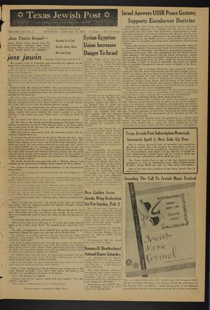 Primary view of object titled 'Texas Jewish Post (Fort Worth, Tex.), Vol. 12, No. 5, Ed. 1 Thursday, January 30, 1958'.