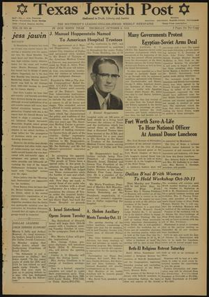 Primary view of object titled 'Texas Jewish Post (Fort Worth, Tex.), Vol. 9, No. 40, Ed. 1 Thursday, October 6, 1955'.