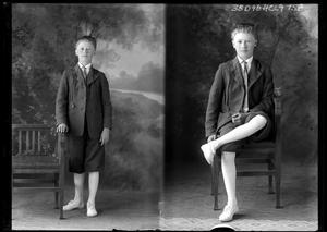 Primary view of object titled '[Portraits of Boy with Chair]'.