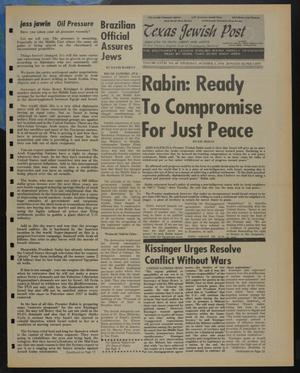 Primary view of object titled 'Texas Jewish Post (Fort Worth, Tex.), Vol. 28, No. 40, Ed. 1 Thursday, October 3, 1974'.