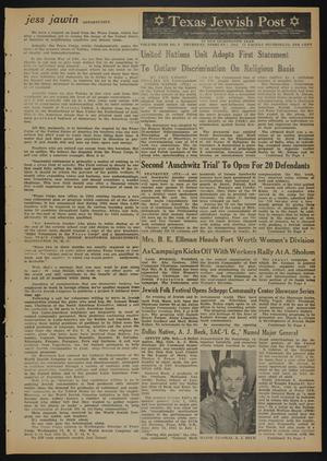 Primary view of object titled 'Texas Jewish Post (Fort Worth, Tex.), Vol. 18, No. 6, Ed. 1 Thursday, February 6, 1964'.