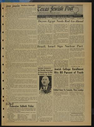 Primary view of object titled 'Texas Jewish Post (Fort Worth, Tex.), Vol. 22, No. 3, Ed. 1 Thursday, January 18, 1968'.