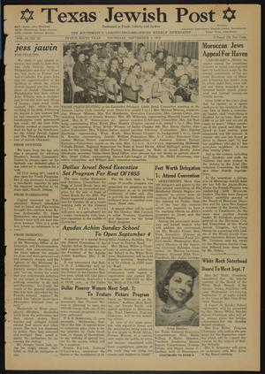 Primary view of object titled 'Texas Jewish Post (Fort Worth, Tex.), Vol. 9, No. 35, Ed. 1 Thursday, September 1, 1955'.