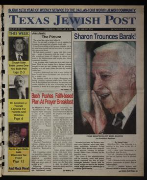 Primary view of object titled 'Texas Jewish Post (Fort Worth, Tex.), Vol. 55, No. 6, Ed. 1 Thursday, February 8, 2001'.