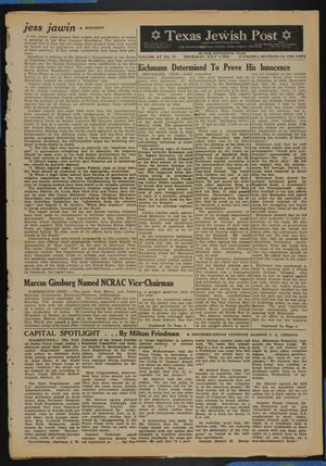 Primary view of object titled 'Texas Jewish Post (Fort Worth, Tex.), Vol. 15, No. 27, Ed. 1 Thursday, July 6, 1961'.