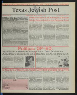 Primary view of object titled 'Texas Jewish Post (Fort Worth, Tex.), Vol. 46, No. 29, Ed. 1 Thursday, July 16, 1992'.