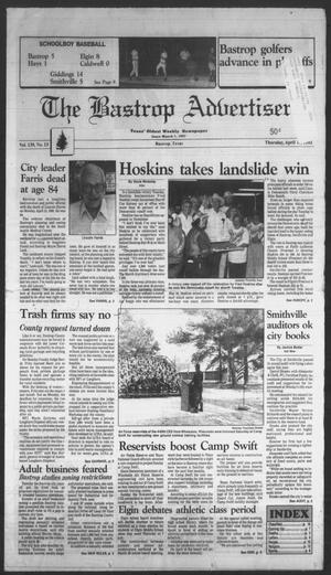 Primary view of object titled 'The Bastrop Advertiser (Bastrop, Tex.), Vol. 139, No. 13, Ed. 1 Thursday, April 16, 1992'.
