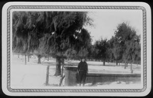 Primary view of object titled '[Photograph of Mary Jones in a snow covered yard]'.
