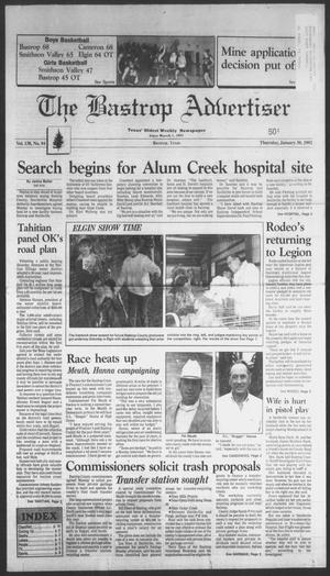 Primary view of object titled 'The Bastrop Advertiser (Bastrop, Tex.), Vol. 138, No. 94, Ed. 1 Thursday, January 30, 1992'.