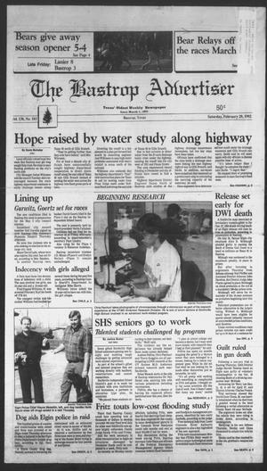 Primary view of object titled 'The Bastrop Advertiser (Bastrop, Tex.), Vol. 138, No. 103, Ed. 1 Saturday, February 29, 1992'.