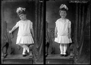 Primary view of object titled '[Portraits of Girl with Bow Standing In Chair]'.