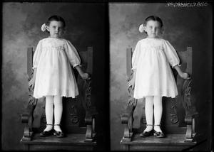 Primary view of object titled '[Portraits of Girl Standing in Chair]'.