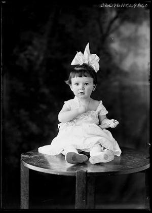 Primary view of object titled '[Portrait of Baby Girl with Bow]'.