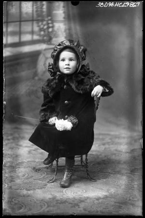 Primary view of object titled '[Portrait of Girl Wearing Bonnet]'.