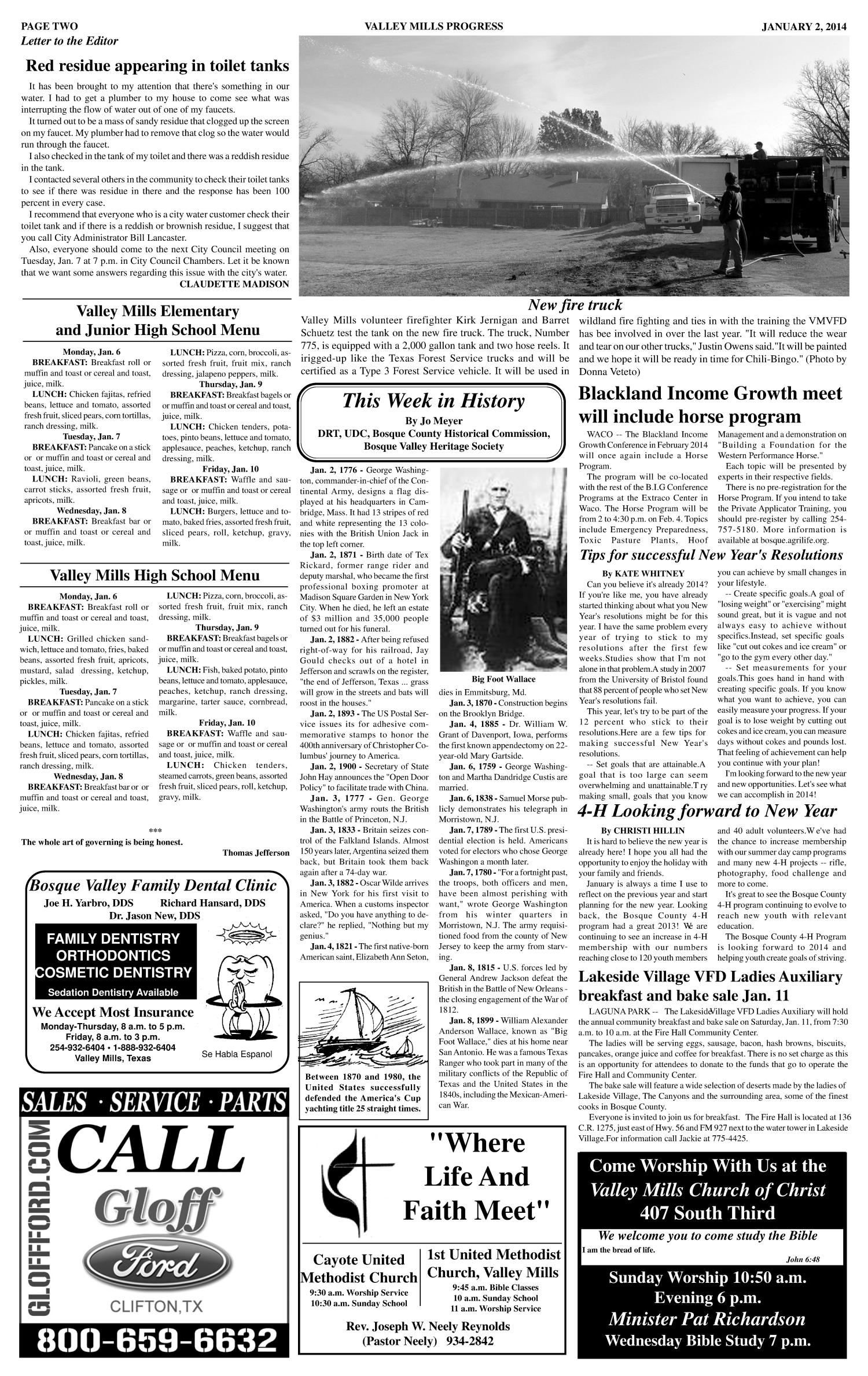 Valley Mills Progress (Valley Mills, Tex.), Vol. 25, No. 36, Ed. 1 Thursday, January 2, 2014                                                                                                      [Sequence #]: 2 of 6