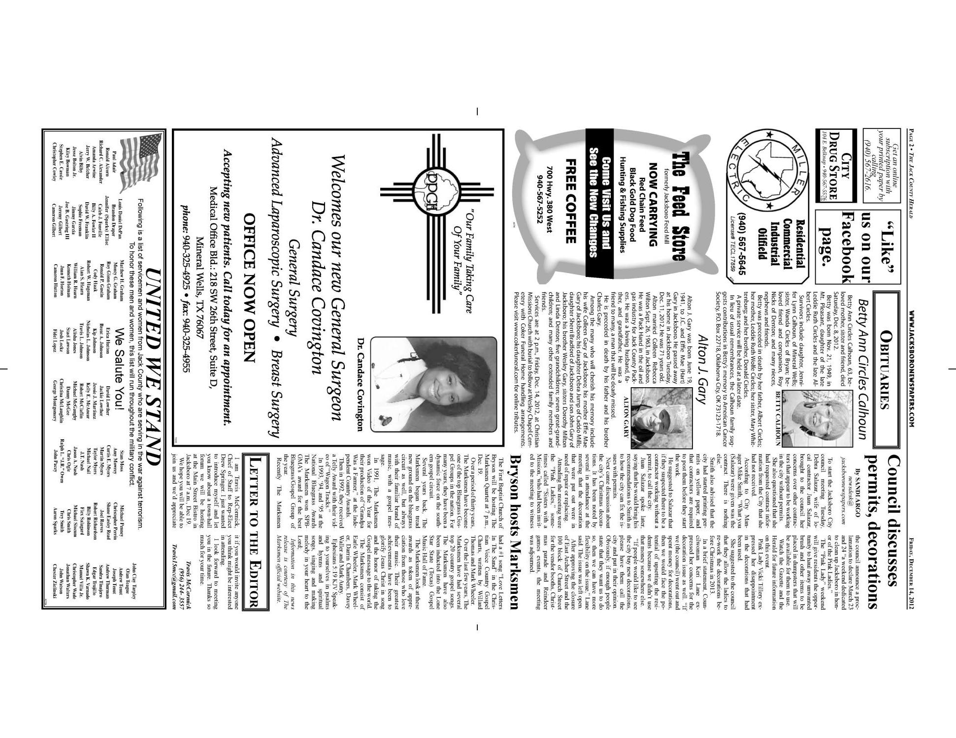 The Jack County Herald (Jacksboro, Tex.), Vol. 67, No. 28, Ed. 1 Friday, December 14, 2012                                                                                                      [Sequence #]: 2 of 10