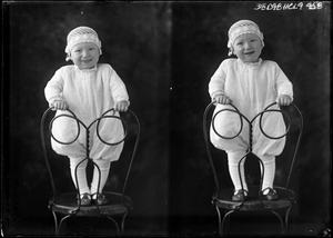 Primary view of object titled '[Portraits of Baby Standing in Chair]'.