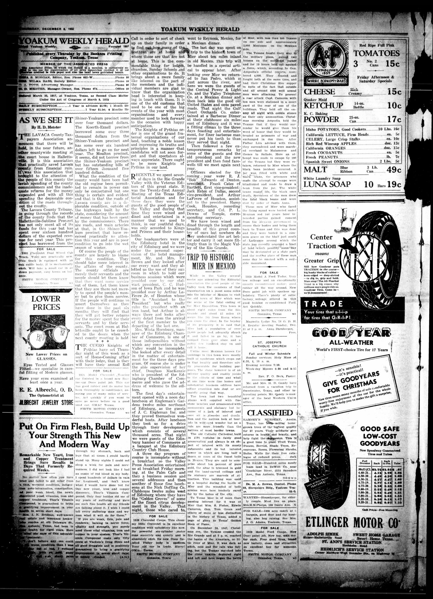 The Weekly Herald (Yoakum, Tex.), Vol. 36, No. [37], Ed. 1 Thursday, December 8, 1932                                                                                                      [Sequence #]: 2 of 4