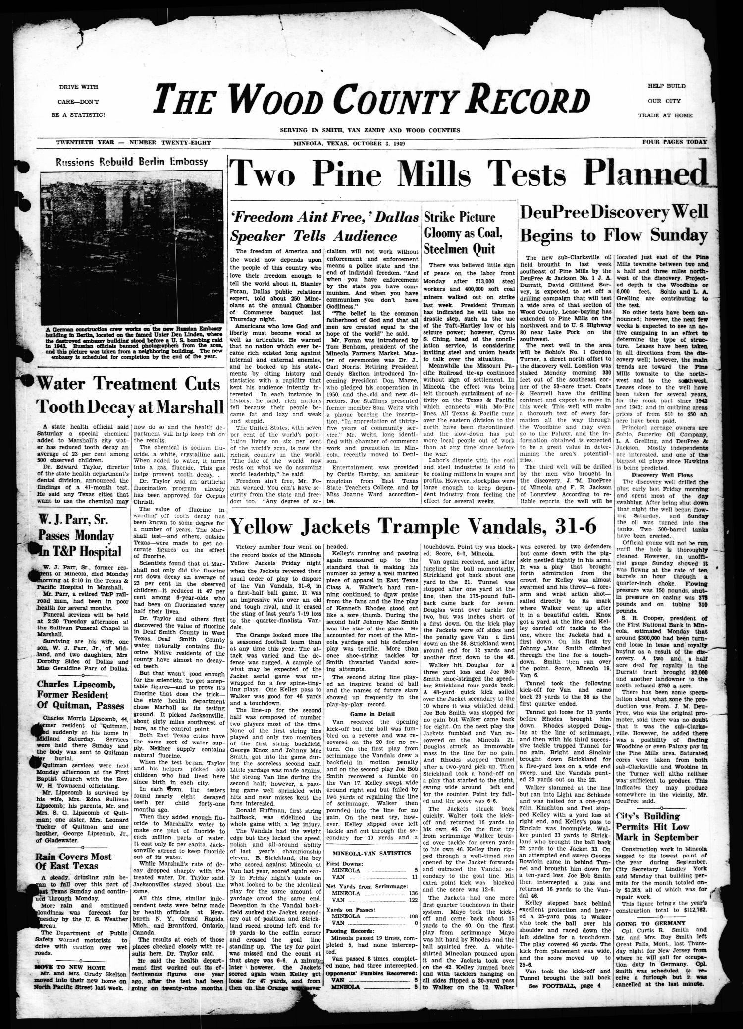 The Wood County Record (Mineola, Tex.), Vol. 20, No. 28, Ed. 1 Monday, October 3, 1949                                                                                                      [Sequence #]: 1 of 4