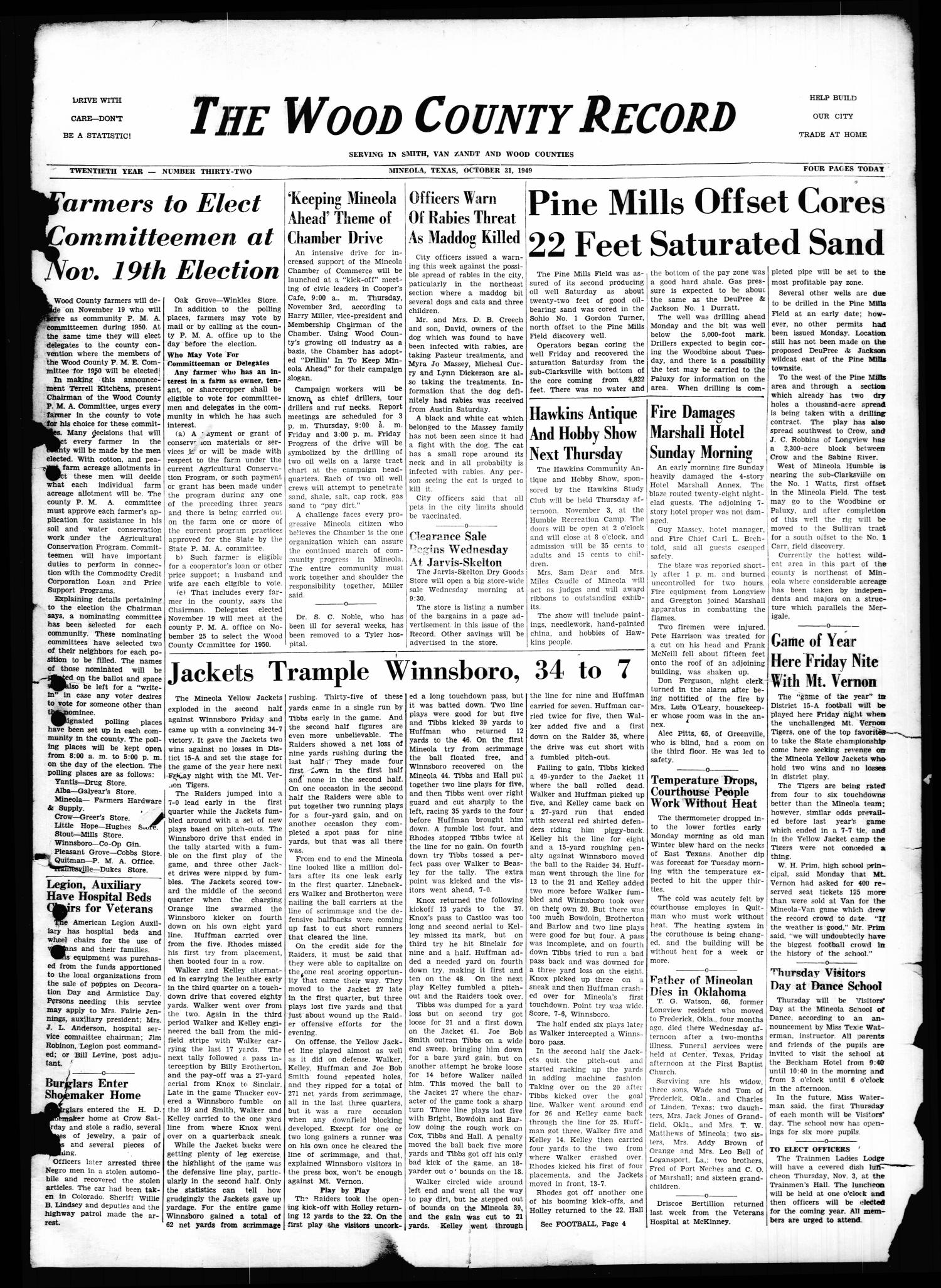 The Wood County Record (Mineola, Tex.), Vol. 20, No. 32, Ed. 1 Monday, October 31, 1949                                                                                                      [Sequence #]: 1 of 4