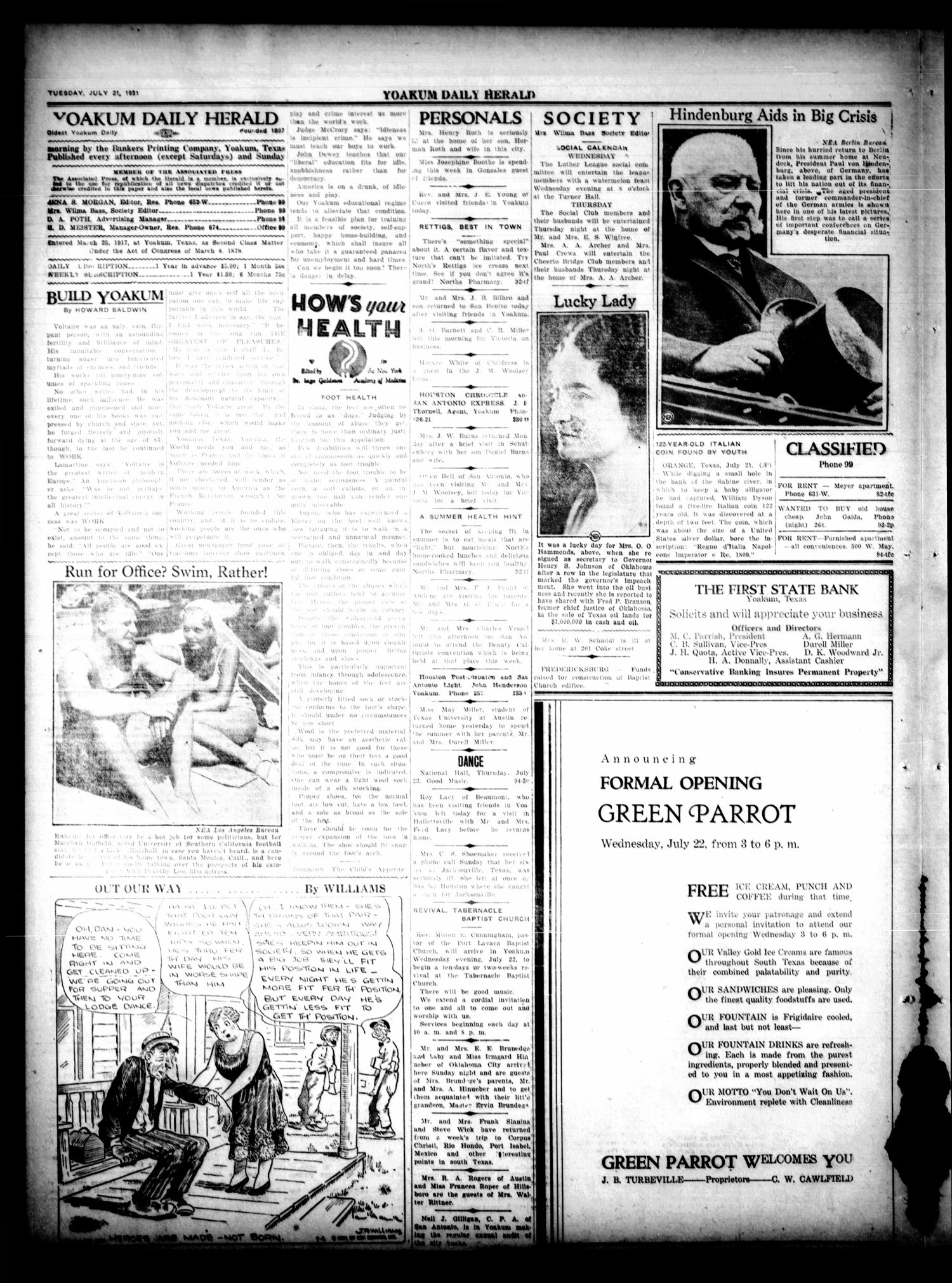 Yoakum Daily Herald (Yoakum, Tex.), Vol. 35, No. 94, Ed. 1 Tuesday, July 21, 1931                                                                                                      [Sequence #]: 2 of 4