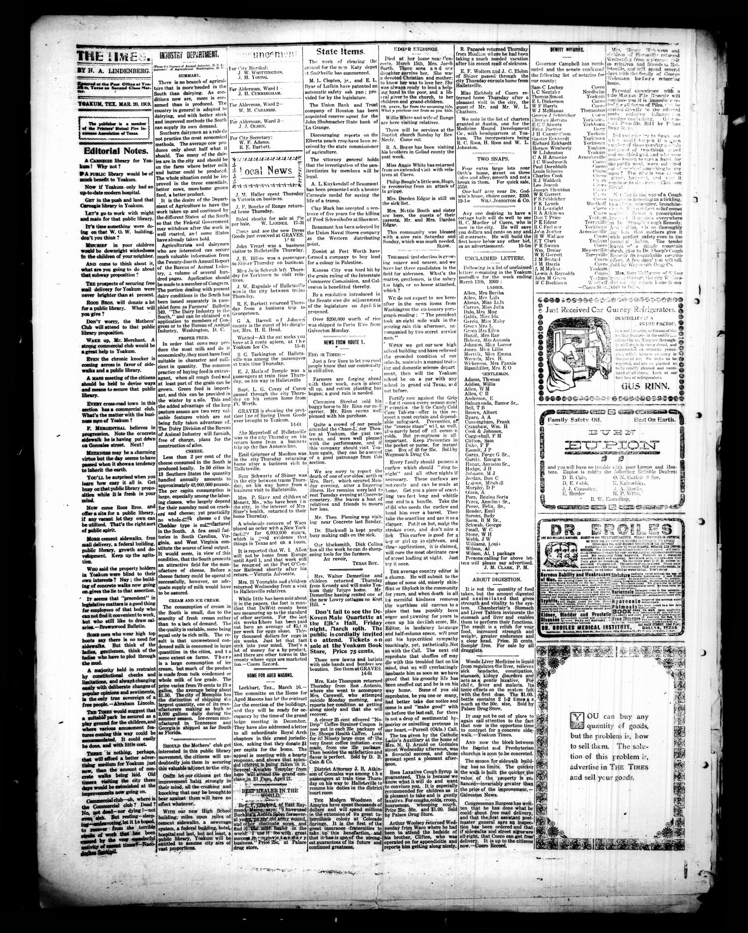 Yoakum Weekly Times. (Yoakum, Tex.), Vol. 14, No. 14, Ed. 1 Saturday, March 20, 1909                                                                                                      [Sequence #]: 4 of 4