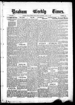 Primary view of object titled 'Yoakum Weekly Times. (Yoakum, Tex.), Vol. 14, No. 46, Ed. 1 Saturday, July 16, 1910'.