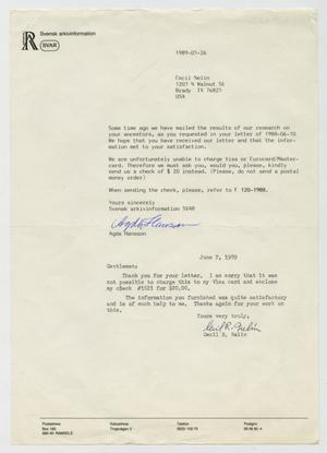 Primary view of object titled '[Letter from Cecil R. Nelin to Agda Hansson, June 7, 1989]'.