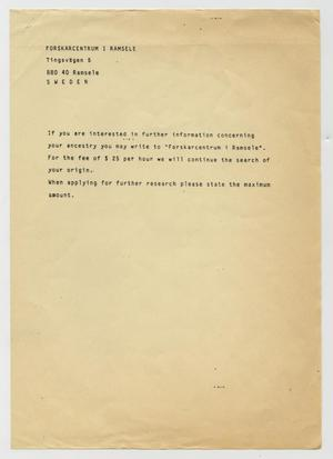 Primary view of object titled '[Letter from Forskarcentrum I Ramsele, 1988~]'.