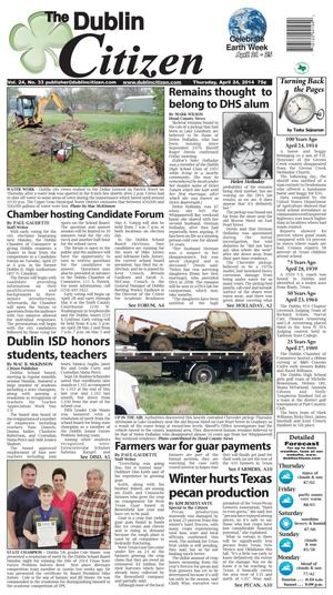 Primary view of object titled 'The Dublin Citizen (Dublin, Tex.), Vol. 24, No. 33, Ed. 1 Thursday, April 24, 2014'.