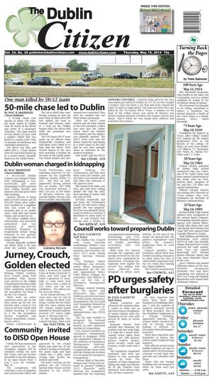 Primary view of object titled 'The Dublin Citizen (Dublin, Tex.), Vol. 24, No. 36, Ed. 1 Thursday, May 15, 2014'.