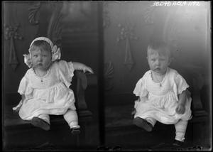 Primary view of object titled '[Portraits of Baby with Bonnet and Necklace]'.