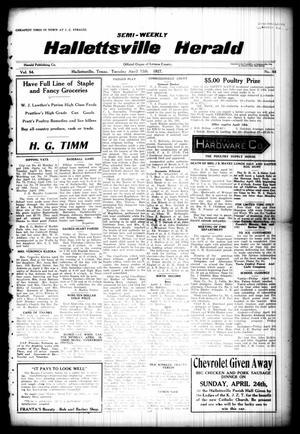 Semi-weekly Hallettsville Herald (Hallettsville, Tex.), Vol. 54, No. 84, Ed. 1 Tuesday, April 12, 1927