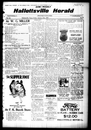 Primary view of object titled 'Semi-weekly Hallettsville Herald (Hallettsville, Tex.), Vol. 54, No. 61, Ed. 1 Friday, January 21, 1927'.