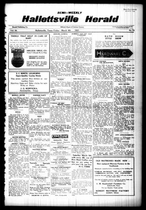 Primary view of object titled 'Semi-weekly Hallettsville Herald (Hallettsville, Tex.), Vol. 54, No. 73, Ed. 1 Friday, March 4, 1927'.