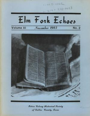 Primary view of object titled 'Elm Fork Echoes, Volume 11, Number 2, November 1983'.