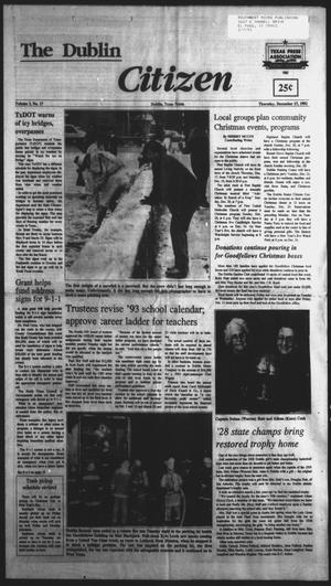Primary view of object titled 'The Dublin Citizen (Dublin, Tex.), Vol. 3, No. 17, Ed. 1 Thursday, December 17, 1992'.
