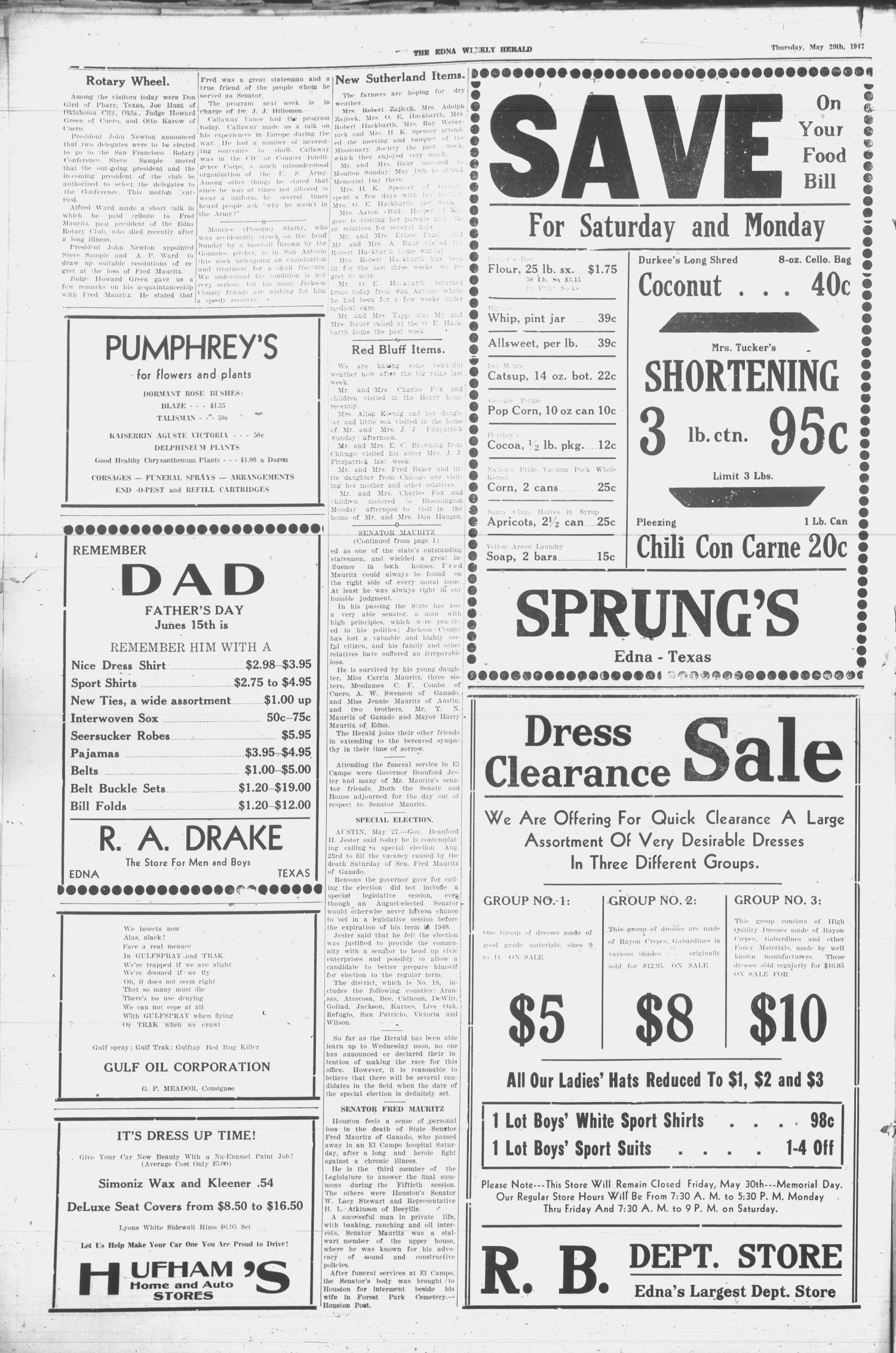 Edna Weekly Herald (Edna, Tex.), Vol. 40, No. 29, Ed. 1 Thursday, May 29, 1947                                                                                                      [Sequence #]: 2 of 12