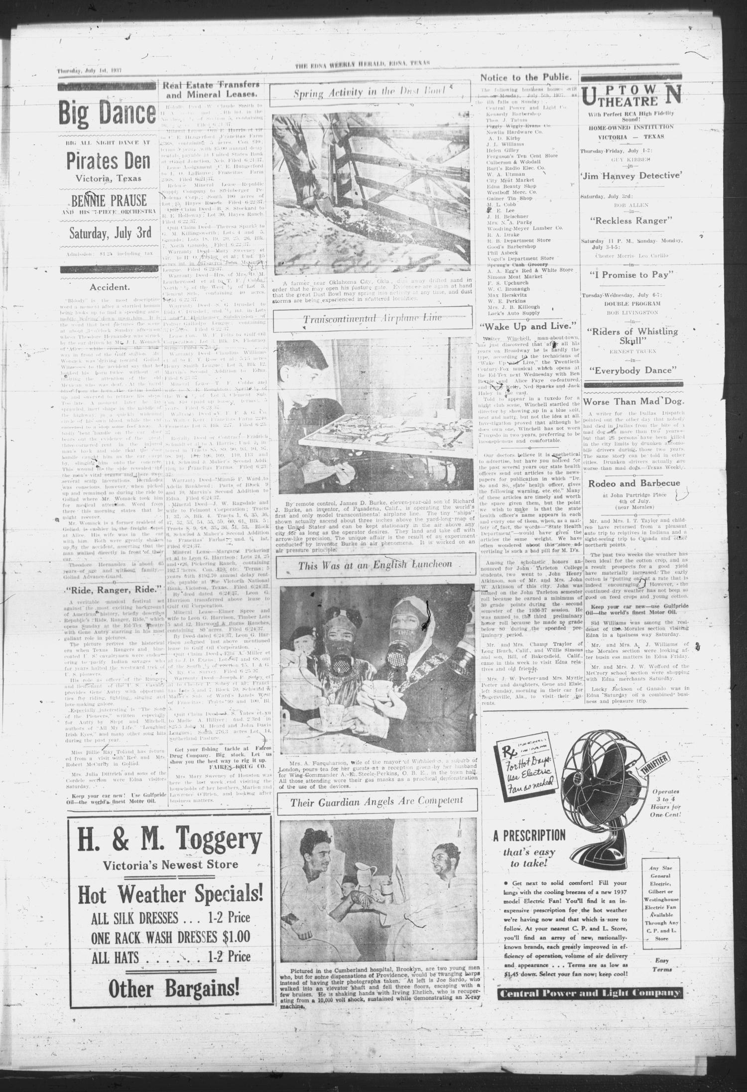 Edna Weekly Herald. (Edna, Tex.), Vol. 31, No. 17, Ed. 1 Thursday, July 1, 1937                                                                                                      [Sequence #]: 3 of 8
