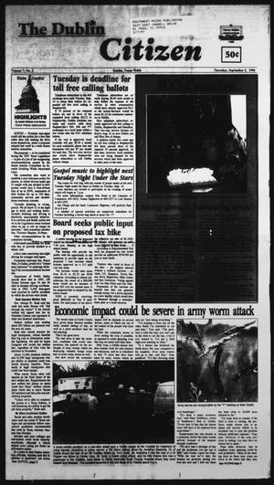 Primary view of object titled 'The Dublin Citizen (Dublin, Tex.), Vol. 7, No. 2, Ed. 1 Thursday, September 5, 1996'.