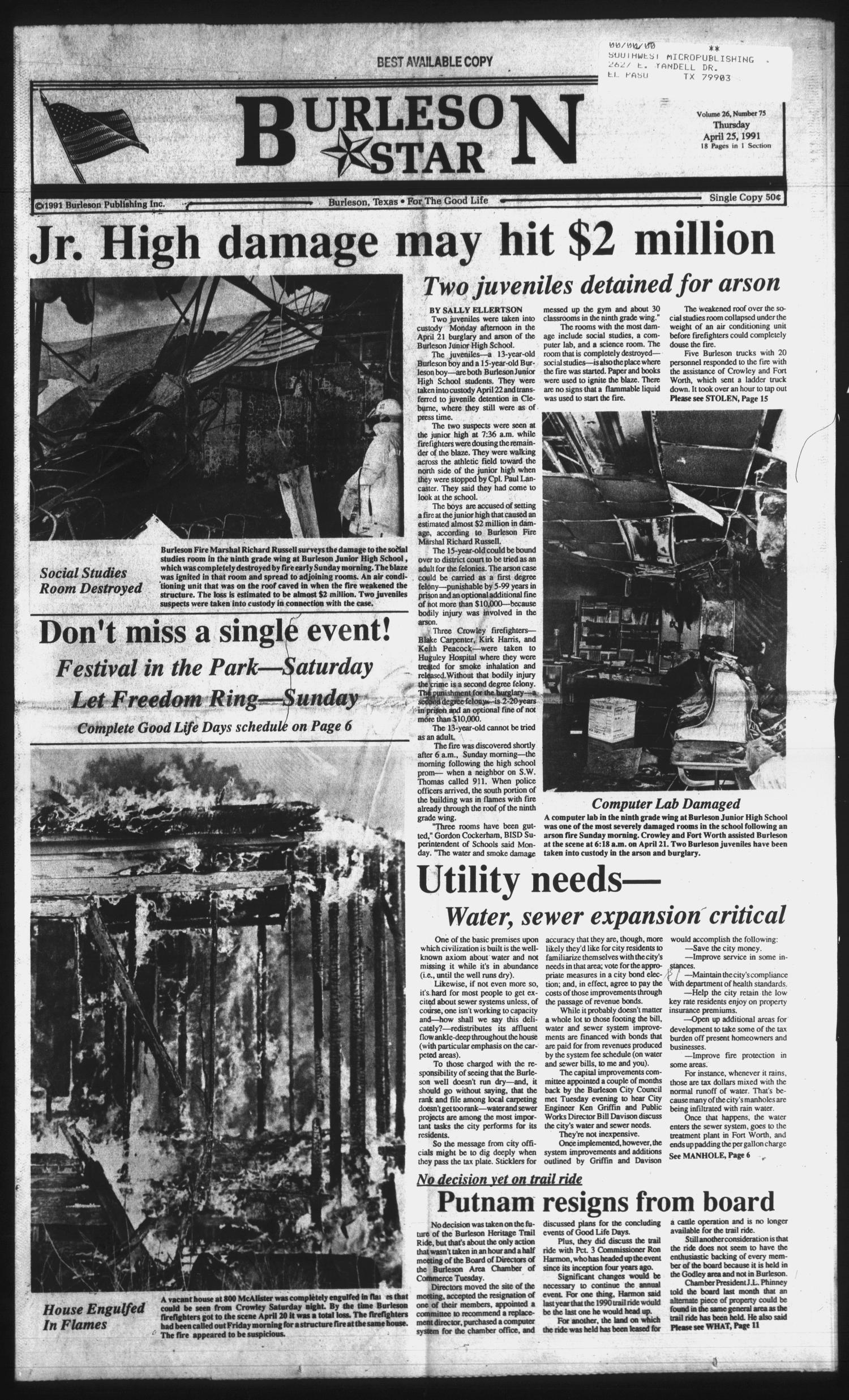 Burleson Star (Burleson, Tex.), Vol. 26, No. 75, Ed. 1 Thursday, April 25, 1991                                                                                                      [Sequence #]: 1 of 18