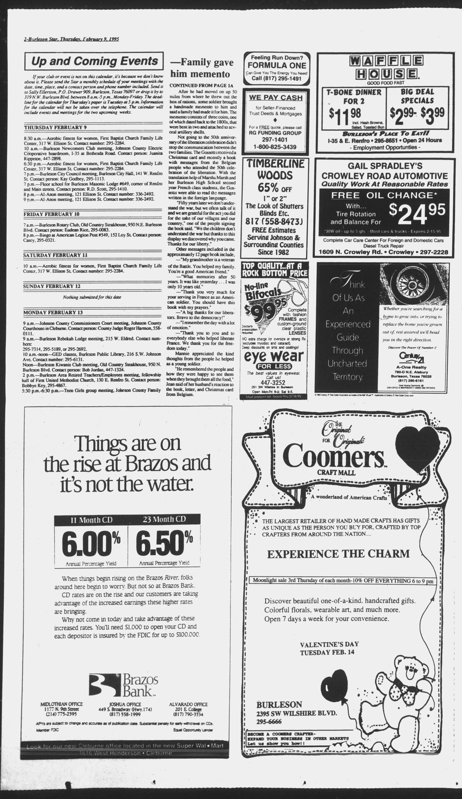 Burleson Star (Burleson, Tex.), Vol. 30, No. 35, Ed. 1 Thursday, February 9, 1995                                                                                                      [Sequence #]: 2 of 16