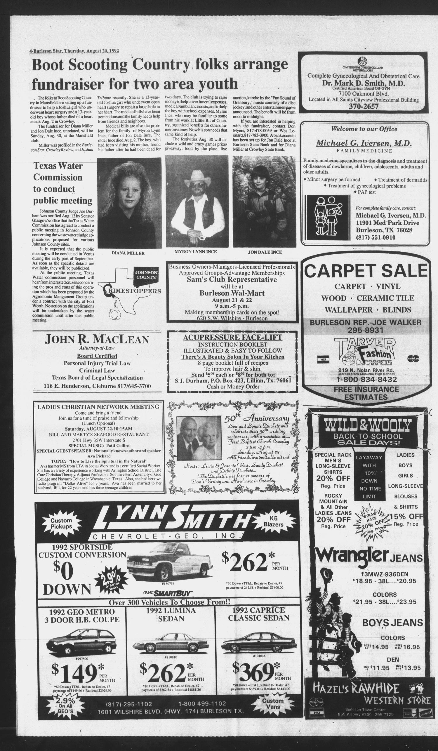 Burleson Star (Burleson, Tex.), Vol. 27, No. 88, Ed. 1 Thursday, August 20, 1992                                                                                                      [Sequence #]: 4 of 16