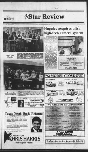 Primary view of object titled 'Burleson Star (Burleson, Tex.), Vol. 27, No. 100, Ed. 1 Monday, October 5, 1992'.