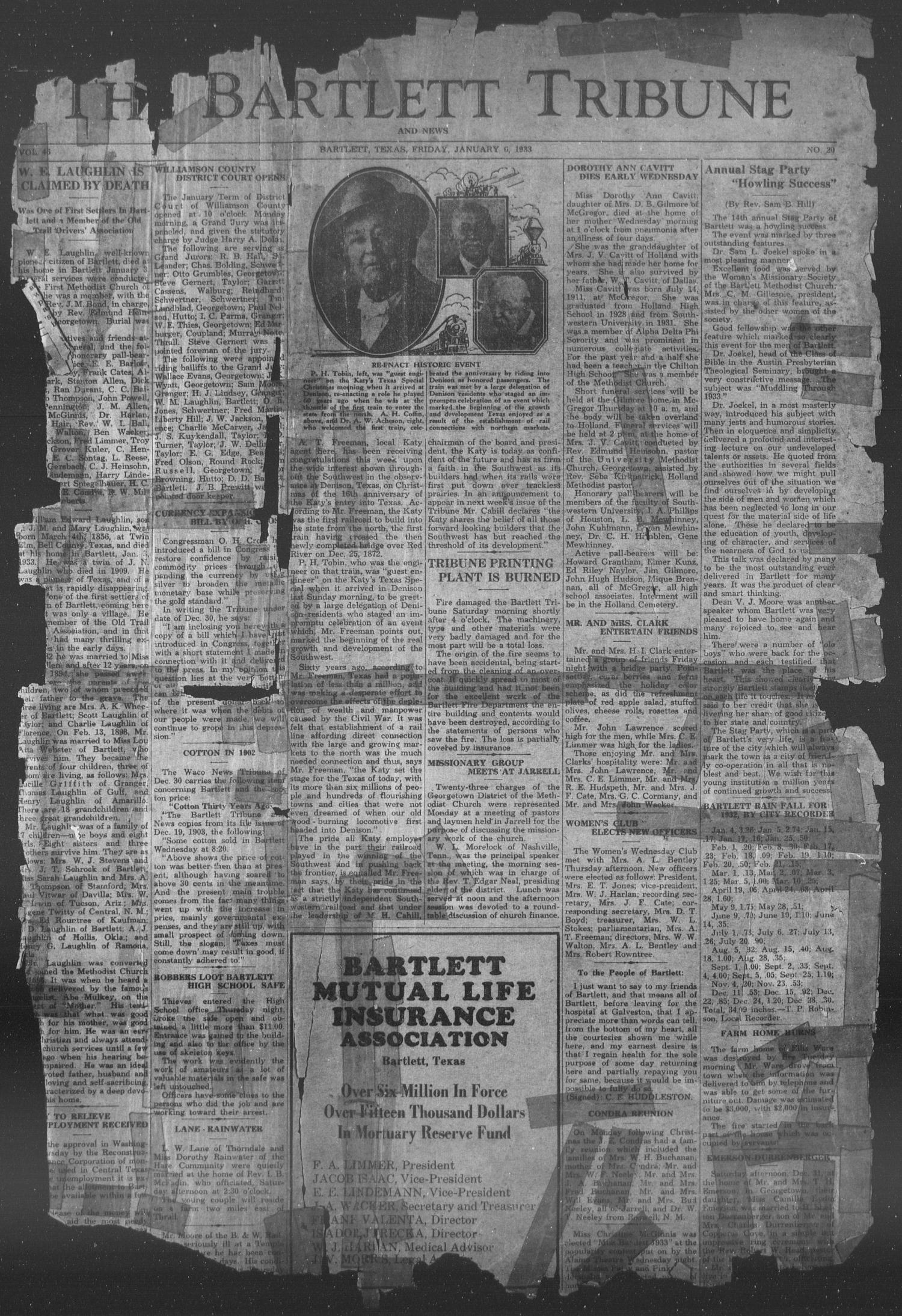 The Bartlett Tribune and News (Bartlett, Tex.), Vol. 46, No. 20, Ed. 1, Friday, January 6, 1933                                                                                                      [Sequence #]: 1 of 4