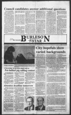 Primary view of object titled 'Burleson Star (Burleson, Tex.), Vol. 27, No. 50, Ed. 1 Thursday, April 9, 1992'.