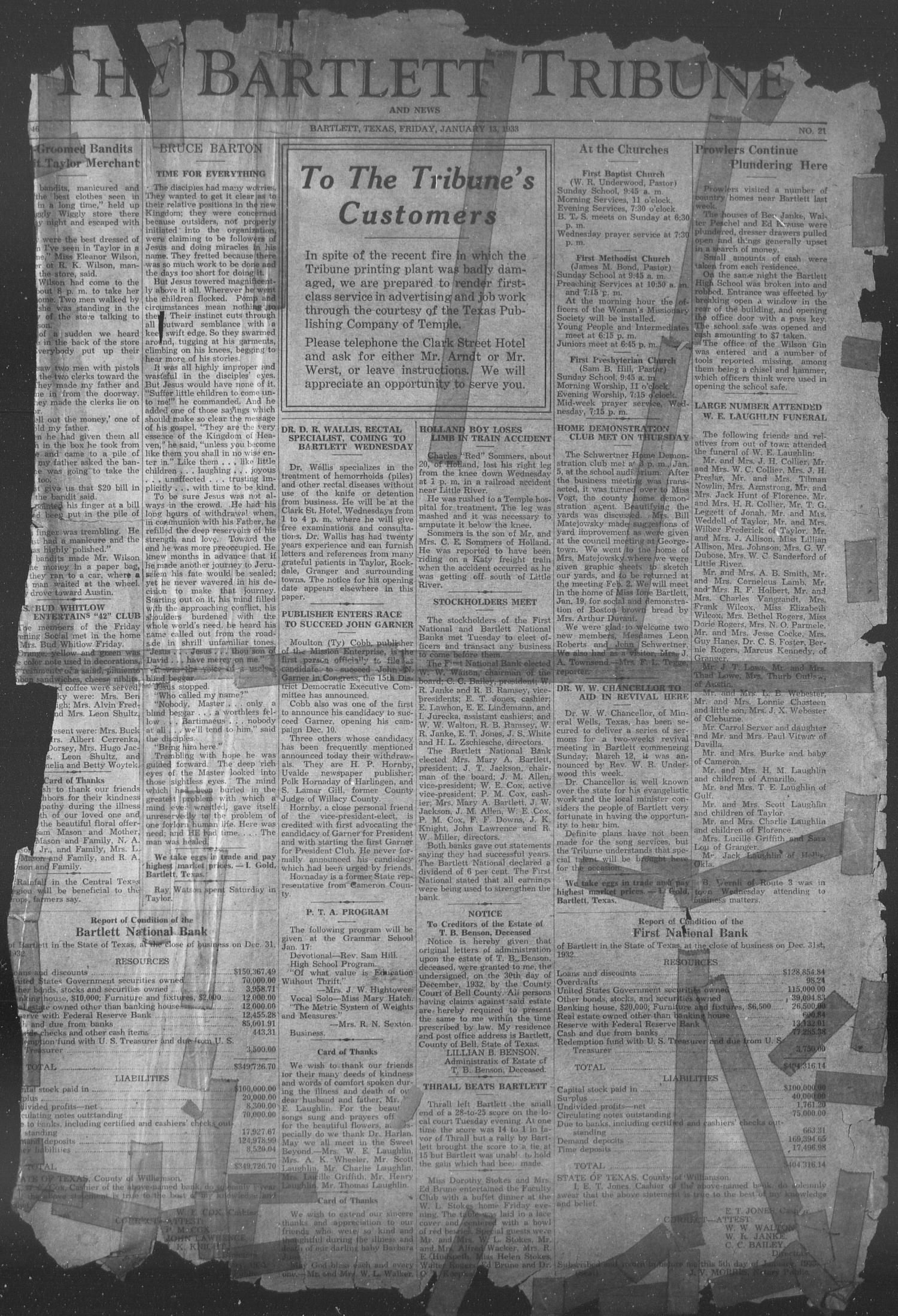 The Bartlett Tribune and News (Bartlett, Tex.), Vol. 46, No. 21, Ed. 1, Friday, January 13, 1933                                                                                                      [Sequence #]: 1 of 4