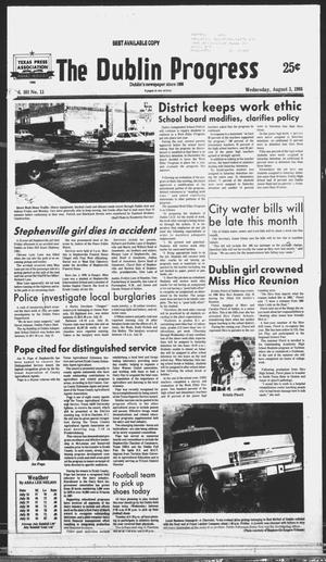 Primary view of object titled 'The Dublin Progress (Dublin, Tex.), Vol. 101, No. 11, Ed. 1 Wednesday, August 3, 1988'.