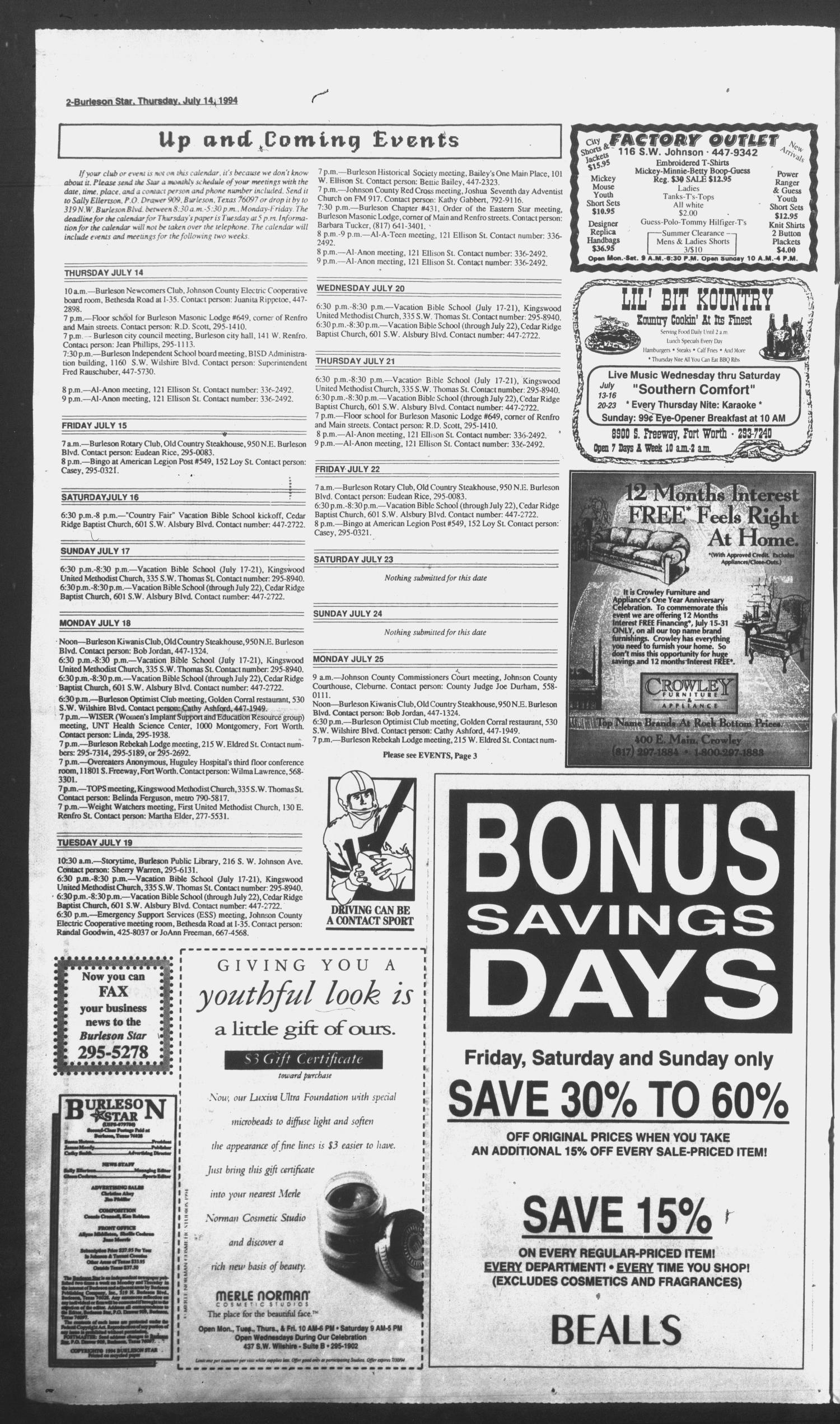 Burleson Star (Burleson, Tex.), Vol. 29, No. 79, Ed. 1 Thursday, July 14, 1994                                                                                                      [Sequence #]: 2 of 6
